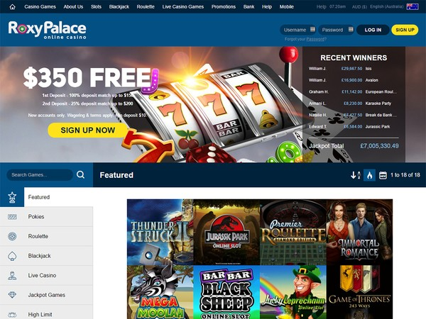 roxy palace online casino sizling hot